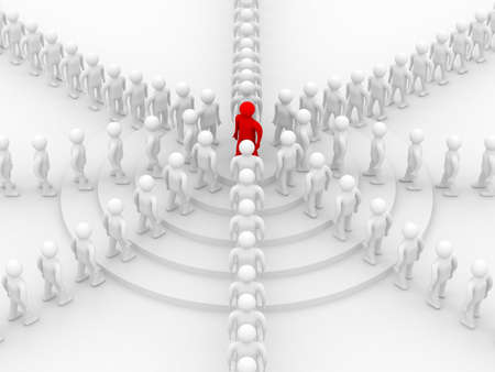 uphill: Conceptual image of teamwork. 3D image.