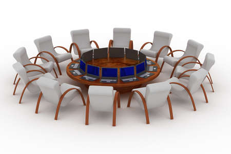 Twelve workplaces behind a round table. 3D image. photo