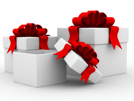 White gift boxs. Isolated 3D image. photo