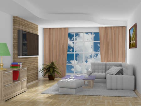 portiere: Interior of a living room. 3D image.