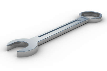 spanner on white background. Isolated 3D image photo