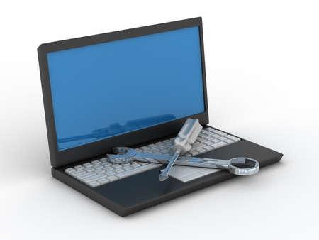 Computer technische dienst. Geïsoleerde 3D beeld