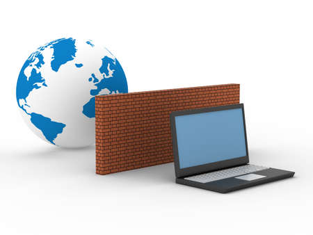 intranet: Protected global network the Internet. 3D image.