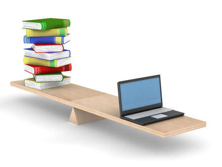 equilibrium: Books and laptop on scales. Isolated 3D image