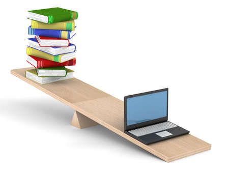 Books and laptop on scales. Isolated 3D image