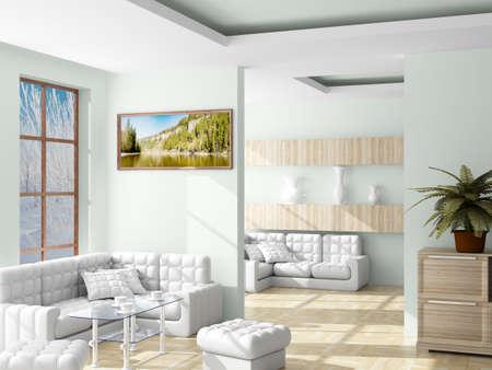 quiet room: Interior of a living room. 3D image.