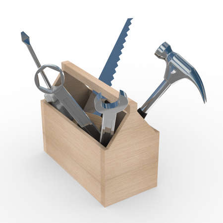 Wooden box with tools. Isolated 3D image photo