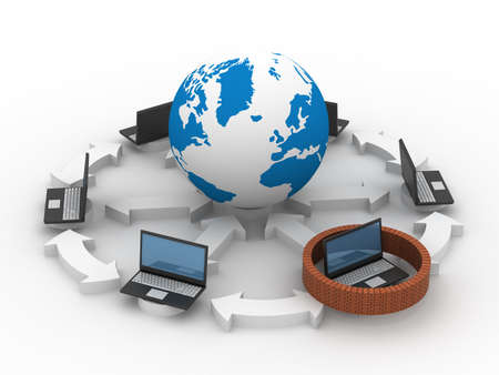 Protected global network the Internet. 3D image. photo