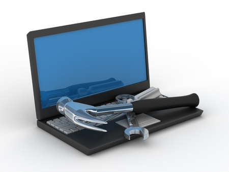 computer repairing: Computer technical service. Isolated 3D image