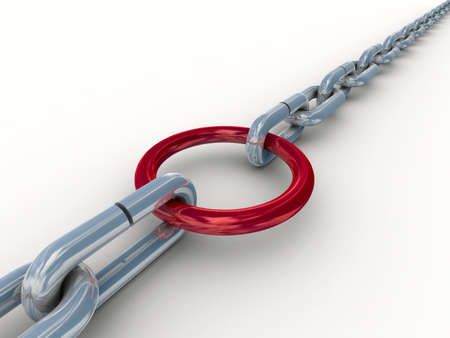 Chain fastened by a red ring. 3D image. Stock Photo - 4360877
