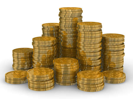 Column of golden coins isolated on white. 3D image photo