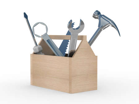 helpline: Wooden box with tools. Isolated 3D image Stock Photo