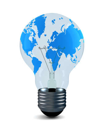 Bulb with world card on a white background. Isolated 3D image.  photo