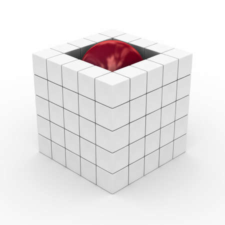 Cube with sphere on a white background. 3D image photo