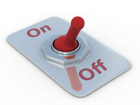shutoff: red switch on a white background. 3D image