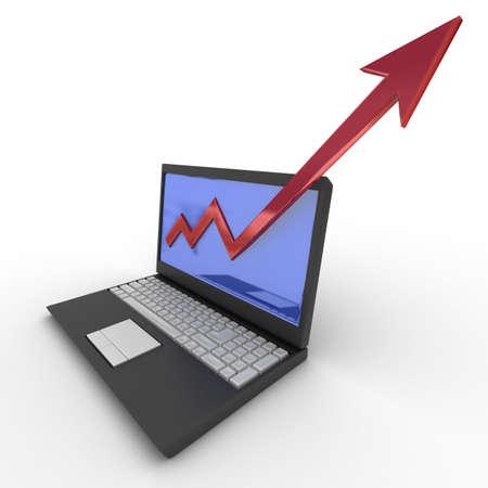 financial leadership: Port�til. concepto de crecimiento financiero. Imagen en 3D. Foto de archivo