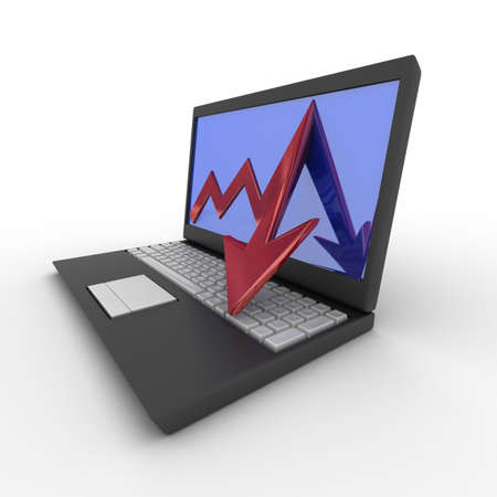 Laptop. concept of financial falling. 3D image. Stock Photo - 4461532