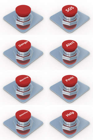 set red buttons on a white background. 3D image Stock Photo - 4461533