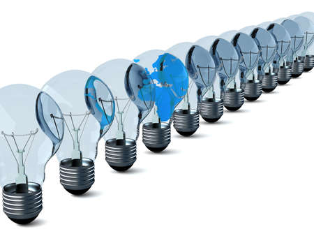Row of electric bulbs on a white background. 3D image photo