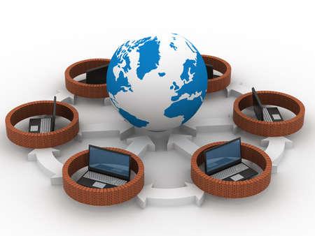 Protegidos de la red mundial de Internet. Imagen en 3D. Foto de archivo