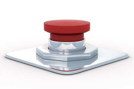 shutoff: red button on a white background. 3D image