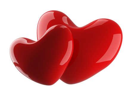 curare teneramente: Due cuore isolato su uno sfondo bianco. 3D.