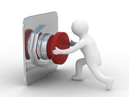 shutoff: person pushes the button. Isolated 3D image