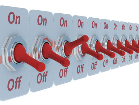 row red switch on a white background. 3D image Stock Photo