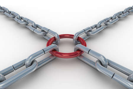 Chain fastened by a red ring. 3D image. Stock Photo - 4531074