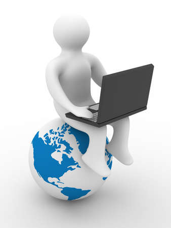 student with the laptop sitting on globe. 3D image. Stock Photo - 4531067