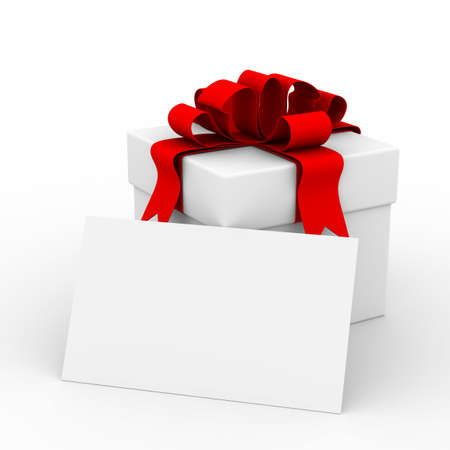 closed ribbon: White gift box with a card. 3D image