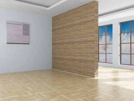 laminated: Empty room. Landscape behind the open window. 3D image