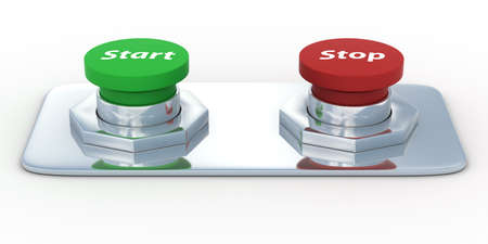 Buttons with an inscription start and stop. Isolated 3D image Stock Photo - 4576840