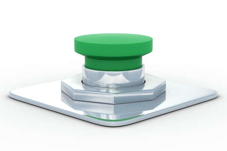 shutoff: green button on a white background. 3D image
