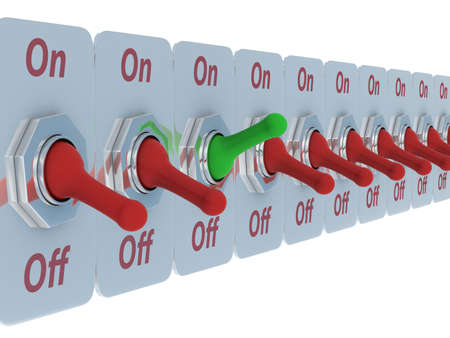 row switch on a white background. 3D image Stock Photo