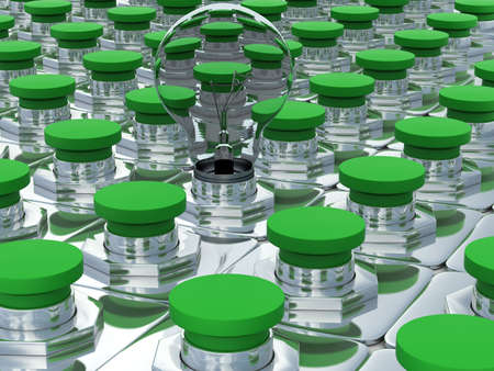 Green buttons and one bulb. 3D image photo