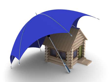 habitation: Insurance of habitation. Isolated 3D image on white background