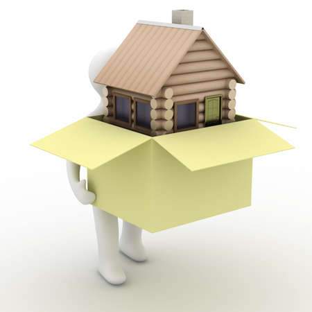 porter house: house in a gift. 3D image. isolated illustrations