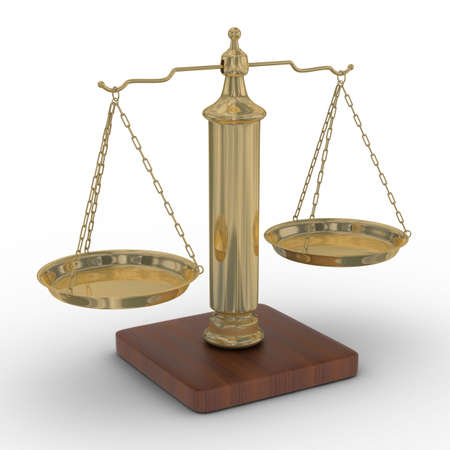 Scales justice on a white background. Isolated 3D image Stock Photo - 4607884