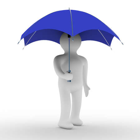 filters: man under umbrella. Isolated 3D image Stock Photo