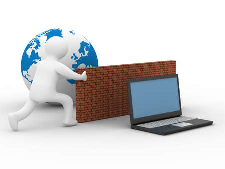 Protected global network the Internet. 3D image. Stock Photo - 4607917