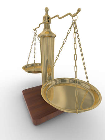 Scales justice on a white background. Isolated 3D image Stock Photo - 4607922