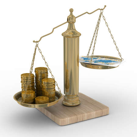 equilibrium: Credit card and coins on scales. Isolated 3D image