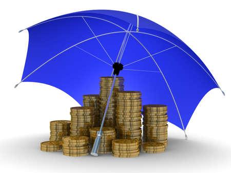 renta: Protecci�n del dinero. Aislados imagen en 3D sobre fondo blanco