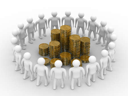 gold money: People standing around of money. Isolated 3D image