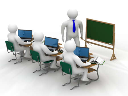 Lesson in a school class. Isolated 3D image. Stock Photo - 4702198