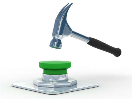 shutoff: hammer in button. Isoladet 3D image Stock Photo