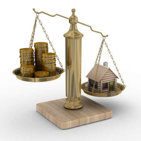equilibrium: house and cashes on weights. Isolated 3D image