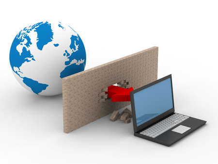Protected global network the Internet. 3D image. Stock Photo - 4751073