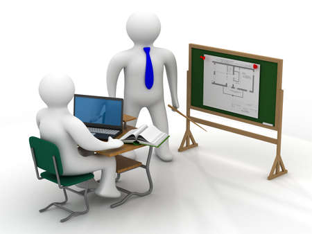 students in class: Lesson in a school class. Isolated 3D image.